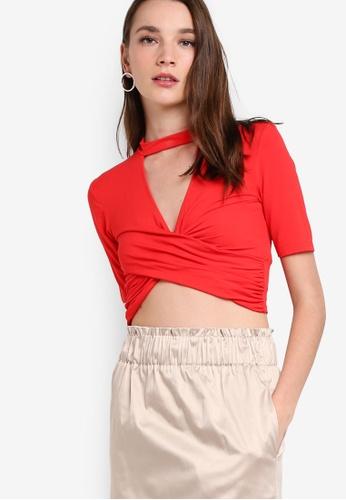 TOPSHOP red Choker Short Sleeve Twist Top TO412AA63TGQMY_1