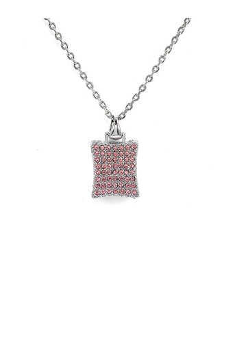 Glamorousky pink Glistering Rectangle Pendant with Pink Austrian Element Crystals and Necklace 42285ACF85F79FGS_1