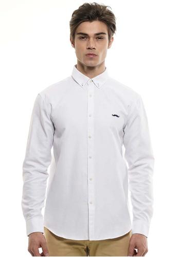 Private Stitch white Private Stitch Men Casual Long Sleeve Slim Fit Cotton Plain Shirt 3BC1CAA4B1FB44GS_1