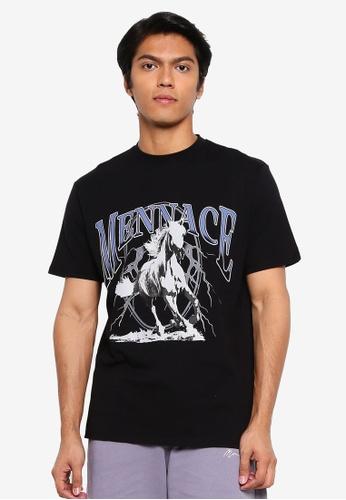 Mennace 黑色 短袖T恤 20E3BAAD6B0123GS_1