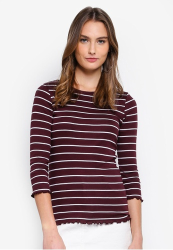 Dorothy Perkins red Berry Stripe 3/4 Lettuce Top 073FCAA9060EE8GS_1