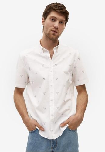 Mango Man white Regular Fit Printed Cotton Shirt 778C5AA8C5BE96GS_1