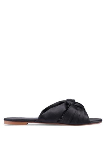 Nose 黑色 綢緞扭結涼鞋 618CFSH690EFD8GS_1