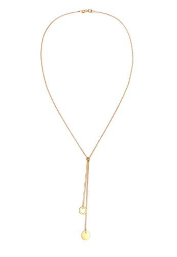 Elli Germany gold Perhiasan Wanita Perak Asli - Silver Kalung Y-Chain Circle Plate Lapis Emas 5CE38ACD990760GS_1