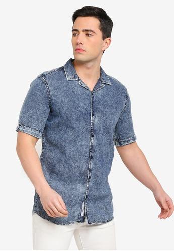 5d1576b48c Buy Only   Sons Sky Washed Short Sleeve Denim Shirt Online on ZALORA ...