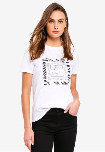 River Island white and multi ?C?est la Belle? Fitted T-shirt DAF7AAA8098D2DGS_1
