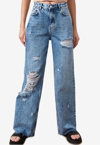 Trendyol blue High Waist Wide Leg Ripped Jeans FB8E2AA1357BD4GS_1