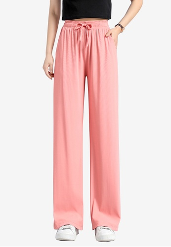 Zafiti pink Women's Drawstring Waist Loose Thin Pant - Pink 98215AA4005748GS_1