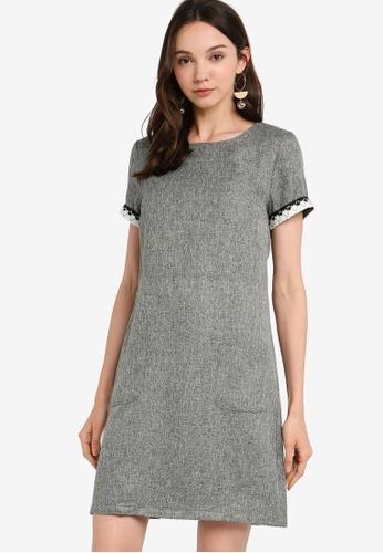 cf86f02fc ZALORA BASICS grey Basic Embellished Pocket Shift Dress EB524AA9345408GS_1