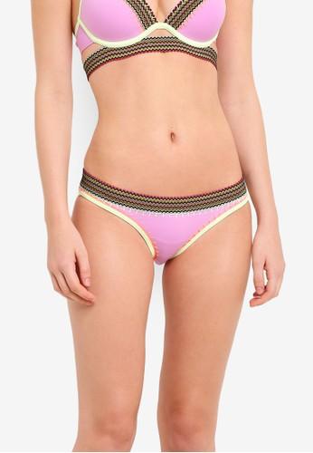 River Island purple and multi Elastic Trim Low Rise Bikini Bottoms RI009US0RKM8MY_1