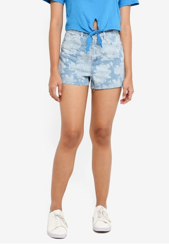 TOPSHOP 藍色 Floral Mom Shorts 05B81AA606153AGS_1