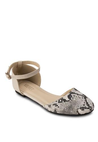 Sarah 蛇紋踝帶平底鞋, 女鞋esprit home 台灣, 鞋