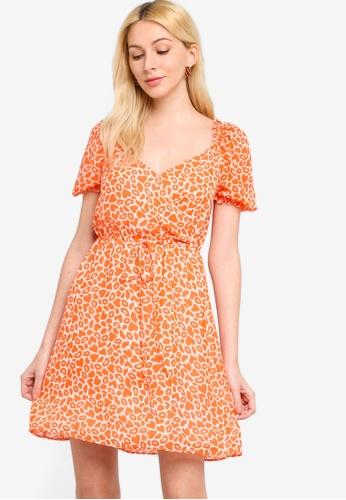 French Connection orange Etta Kiss Neon Printed Dress 1E5F7AA6E9BD7BGS_1