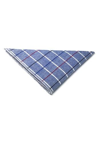 Splice Cufflinks blue Patchwork Series Black, Red and Sky Blue Lines Plaids Design Blue Cotton Pocket Square   SP744AC96DKHSG_1