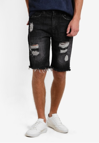 Factorie black Shredded Shooter Shorts FA880AA95PEQMY_1