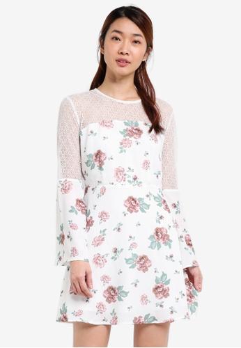 Something Borrowed white Stud Detail Lace Panelled Dress 85ECBAACE58088GS_1