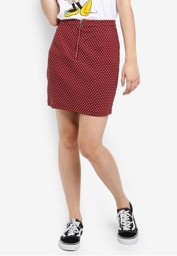 Cotton On red Gwen Zip Mini Skirt B0420AA4264AEBGS_1
