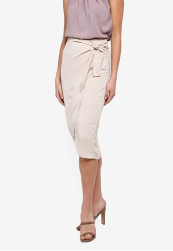 FORCAST beige Charlize Tie Waist Skirt C13D7AA3395B26GS_1