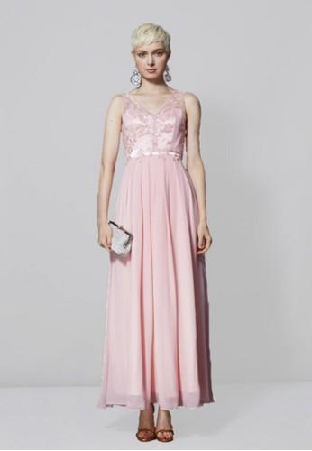 優雅亮片花朵esprit暢貨中心蕾絲拼接雪紡紗長禮服, 服飾, 長洋裝