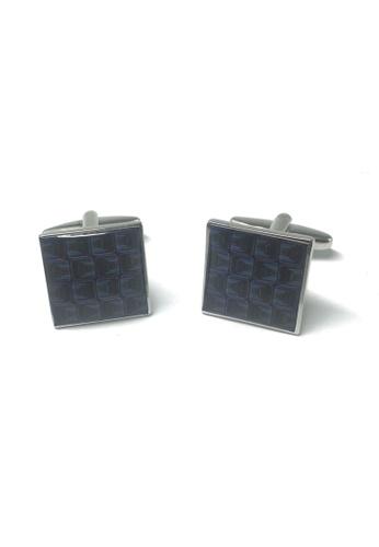Splice Cufflinks Funky Retro Blue Squares Pattern Cufflinks SP744AC48YFJSG_1