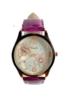 Kimchi Purple Floral Leather Strap Watch