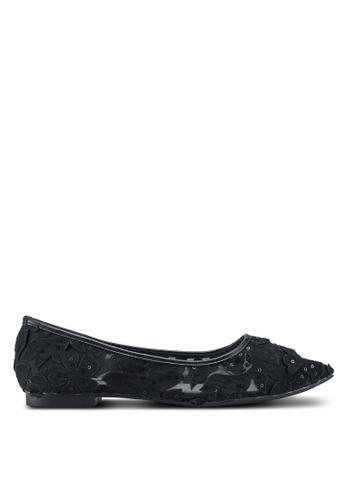Nose 黑色 尖頭蕾絲透視平底鞋 0D971SH6F70006GS_1
