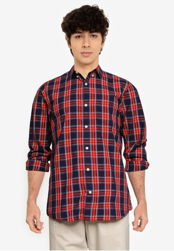GAP 紅色 V-Fa 21 修身Poplin 襯衫 1C1EBAAA925984GS_1
