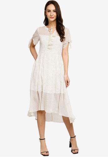 Hopeshow beige Ruffle Collar Polka Dot Midi Dress 2424CAAEC1F336GS_1