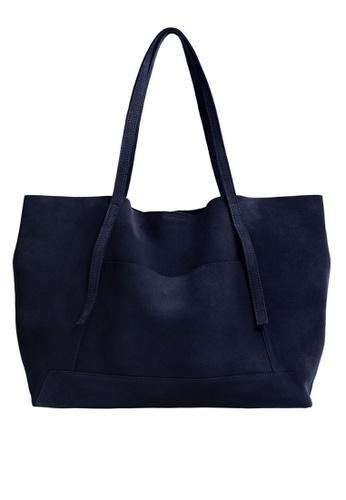 Mango blue Leather Shopper Bag F935AAC18CC1E0GS_1