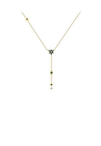 Glamorousky green Simple Temperament Plated Gold Star Tassel Pendant with Cubic Zirconia and Necklace 6E33DAC4135902GS_1