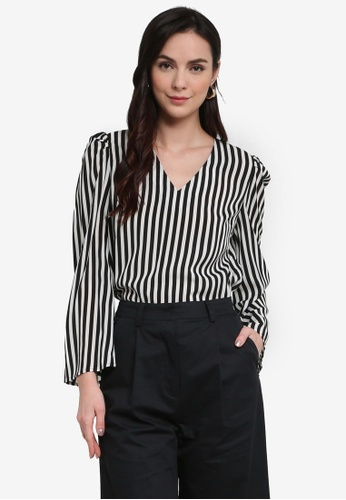 ZALORA WORK black and white and multi V Neck Puff Sleeves Top 91280AA432D80DGS_1
