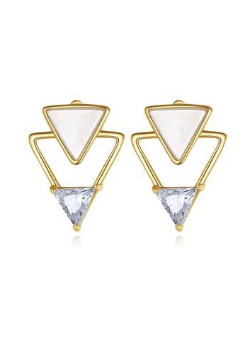 SUNRAIS gold Premium color stone gold simple design earrings 32B61ACB16D796GS_1