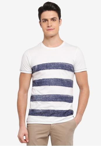 Indicode Jeans 白色 短袖條紋T恤 EEDC6AA6CA786EGS_1