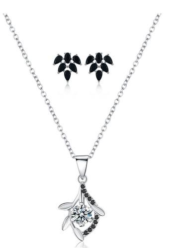 A-Excellence white Premium Elegant White Sliver Necklace Earring Set FADA0AC4A93F80GS_1