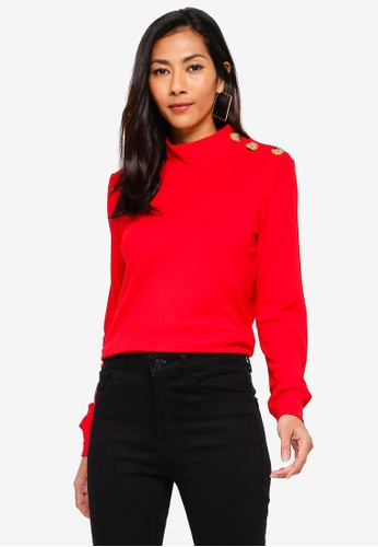 5eec507f33394 Buy WAREHOUSE Button Detail Funnel Neck Top Online on ZALORA Singapore
