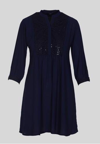 Le Reve blue and navy LE REVE WOMEN Blue ¾ Sleeve Fit-n-Flare Tunic Mini Dress B48BAAAE967078GS_1