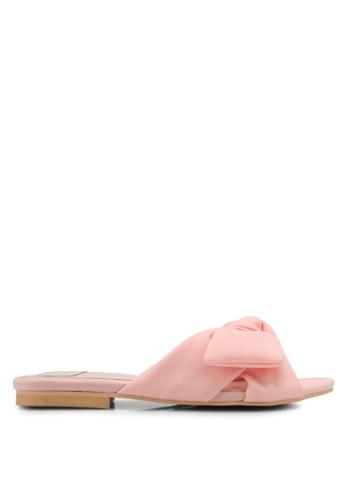 Velvet pink Knotted Slip On Sandals B6CAASH6B9AF07GS_1