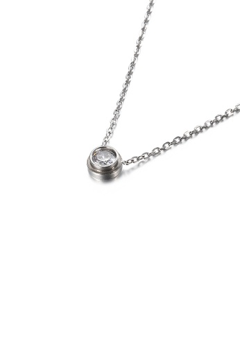 Glamorousky white Simple and Exquisite Geometric Round Cubic Zirconia 316L Stainless Steel Pendant with Necklace 38D94AC62E7036GS_1