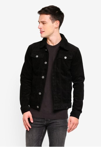 Brave Soul black Cord Jacket With Borg Collar 1555AAAD89D3E8GS_1