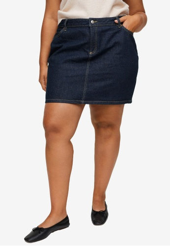 Violeta by MANGO blue Plus Size Contrast Seams Denim Skirt C39CDAA052C9DBGS_1
