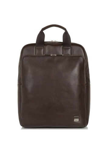 """knomo brown Dale 15"""" Leather Tote Backpack (Brown) 06791AC89CE9E9GS_1"""