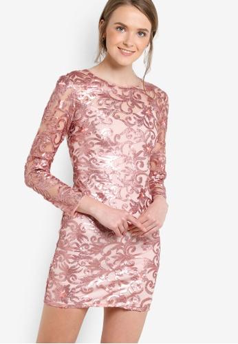 Miss Selfridge red Premium Rose Gold Sequin Mini Dress MI665AA82UONMY_1