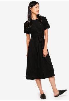 dbaaa425ecb ZALORA black Jersey Wrap Midi Dress 0EA57AA07D26F1GS 1