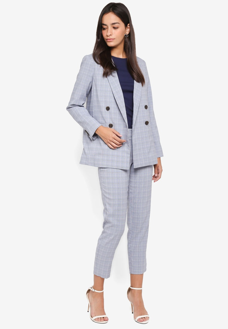 Dorothy Blue Blue Perkins Check Suit Jacket Summer rrqpYw5