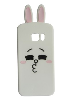 3D Cute Cartoon Line Rabbit Soft Rubber Phone Case for Samsung S6 (White)