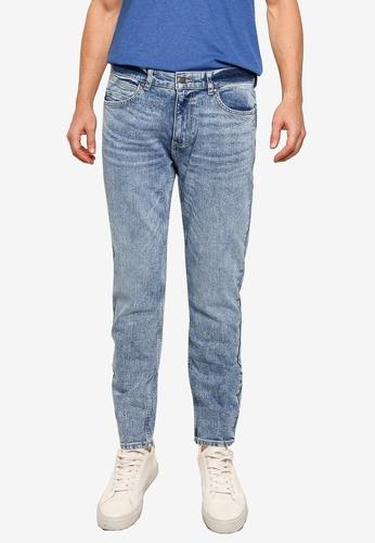 Burton Menswear London blue Blue Tapered Rip Jeans 4E860AA49DAC11GS_1