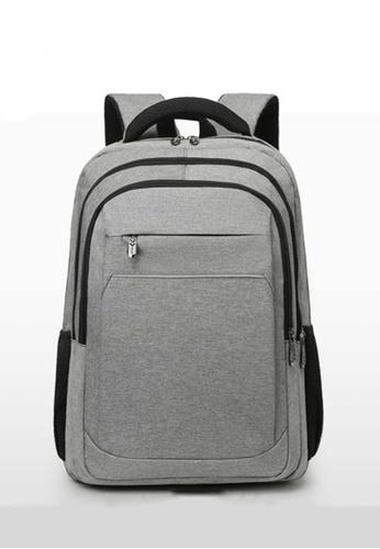 Lara grey Men's Breathable Water-repellent Wear-resistant Nylon Zipper Backpack - Grey C61FAAC508106BGS_1