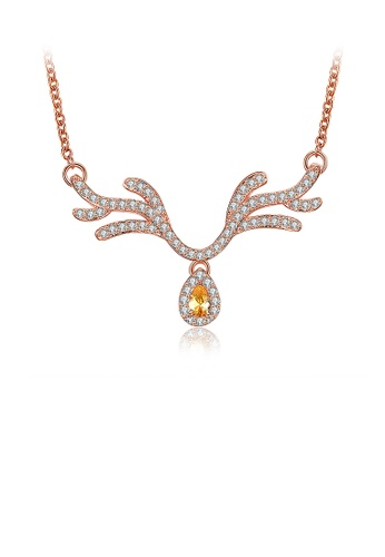 Glamorousky white Fashion Plated Rose Gold Elk Necklace with Austrian Element Crystal 8D9FEACADC33DEGS_1