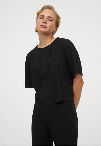 H&M black Ribbed Cropped Top 645D5AA2AAFE3EGS_1
