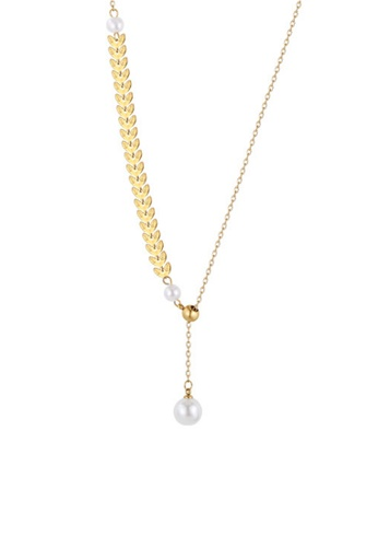 CELOVIS gold CELOVIS - Isis Laurel Leaves with adjustable Pearl Drop Pendant Necklace in Gold CAE8AACAC47C30GS_1